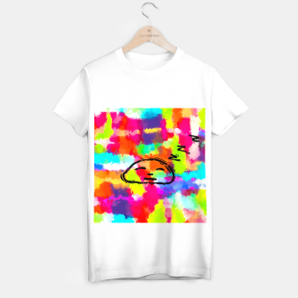 Thumbnail image of sleeping cartoon face with painting abstract background in red pink yellow blue orange T-shirt regular, Live Heroes