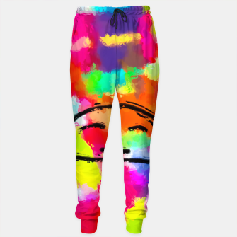 Thumbnail image of sleeping cartoon face with painting abstract background in red pink yellow blue orange Cotton sweatpants, Live Heroes