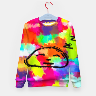 Thumbnail image of sleeping cartoon face with painting abstract background in red pink yellow blue orange Kid's sweater, Live Heroes