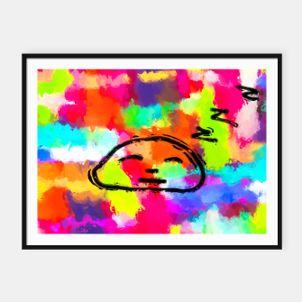 Thumbnail image of sleeping cartoon face with painting abstract background in red pink yellow blue orange Framed poster, Live Heroes