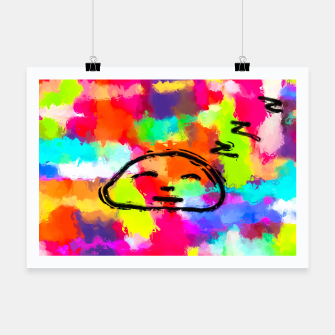 Thumbnail image of sleeping cartoon face with painting abstract background in red pink yellow blue orange Poster, Live Heroes