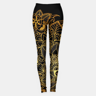 Thumbnail image of Floral Doodle Gold G523 Leggings, Live Heroes