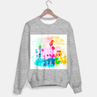 palm tree wth colorful painting abstract background in pink blue green red yellow Sweater regular miniature
