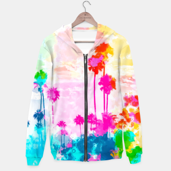 Miniatur palm tree wth colorful painting abstract background in pink blue green red yellow Cotton zip up hoodie, Live Heroes