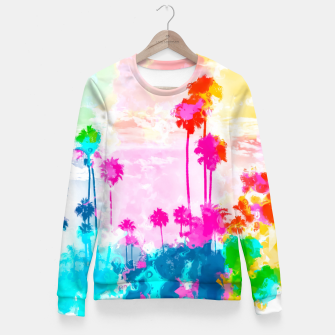 palm tree wth colorful painting abstract background in pink blue green red yellow Woman cotton sweater miniature