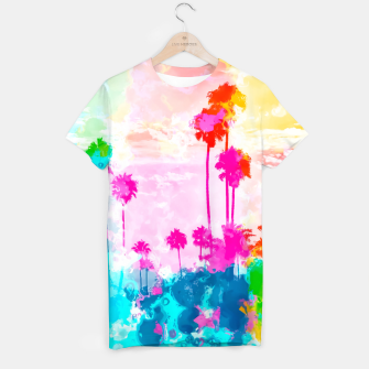 Miniaturka palm tree wth colorful painting abstract background in pink blue green red yellow T-shirt, Live Heroes