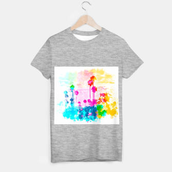 palm tree wth colorful painting abstract background in pink blue green red yellow T-shirt regular miniature