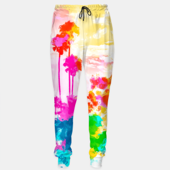 Thumbnail image of palm tree wth colorful painting abstract background in pink blue green red yellow Cotton sweatpants, Live Heroes