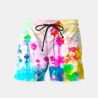 Miniature de image de palm tree wth colorful painting abstract background in pink blue green red yellow Swim Shorts, Live Heroes