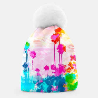 Thumbnail image of palm tree wth colorful painting abstract background in pink blue green red yellow Beanie, Live Heroes