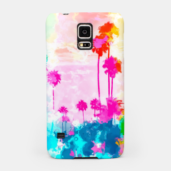 Imagen en miniatura de palm tree wth colorful painting abstract background in pink blue green red yellow Samsung Case, Live Heroes