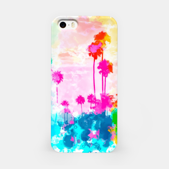 Thumbnail image of palm tree wth colorful painting abstract background in pink blue green red yellow iPhone Case, Live Heroes