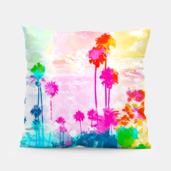 Thumbnail image of palm tree wth colorful painting abstract background in pink blue green red yellow Pillow, Live Heroes