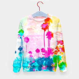 palm tree wth colorful painting abstract background in pink blue green red yellow Kid's sweater miniature