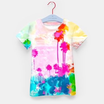 palm tree wth colorful painting abstract background in pink blue green red yellow Kid's t-shirt miniature