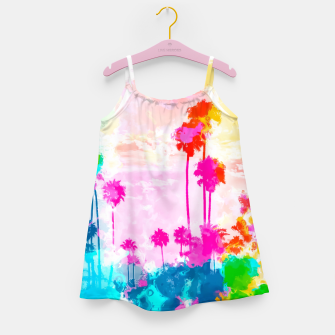 palm tree wth colorful painting abstract background in pink blue green red yellow Girl's dress miniature