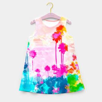 palm tree wth colorful painting abstract background in pink blue green red yellow Girl's summer dress miniature