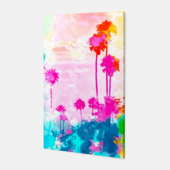Thumbnail image of palm tree wth colorful painting abstract background in pink blue green red yellow Canvas, Live Heroes