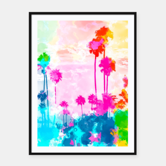 Miniaturka palm tree wth colorful painting abstract background in pink blue green red yellow Framed poster, Live Heroes