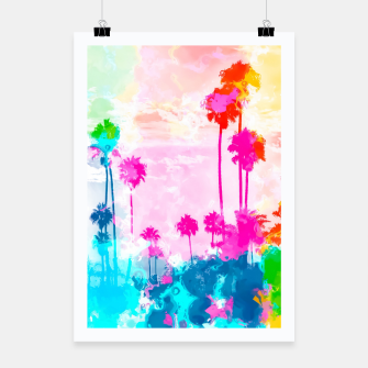 Miniatur palm tree wth colorful painting abstract background in pink blue green red yellow Poster, Live Heroes