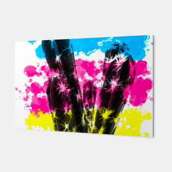 Thumbnail image of cactus with colorful painting abstract background in blue pink yellow Canvas, Live Heroes