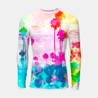 palm tree wth colorful painting abstract background in pink blue green red yellow Longsleeve rashguard  miniature
