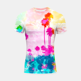 palm tree wth colorful painting abstract background in pink blue green red yellow Shortsleeve rashguard miniature