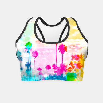 palm tree wth colorful painting abstract background in pink blue green red yellow Crop Top miniature