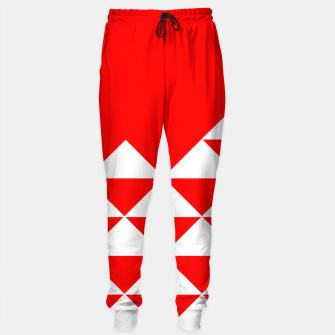 Thumbnail image of Abstract geometric pattern - red and white. Cotton sweatpants, Live Heroes