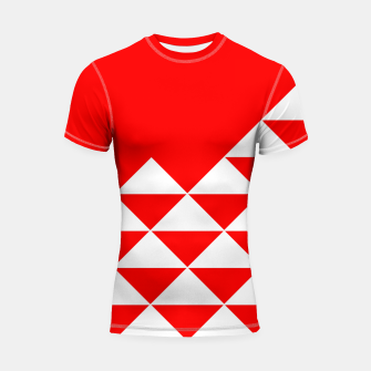 Thumbnail image of Abstract geometric pattern - red and white. Shortsleeve rashguard, Live Heroes