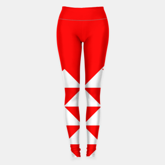 Thumbnail image of Abstract geometric pattern - red and white. Leggings, Live Heroes