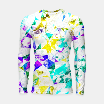 Thumbnail image of psychedelic geometric triangle polygon pattern abstract background in blue pink green yellow Longsleeve rashguard , Live Heroes