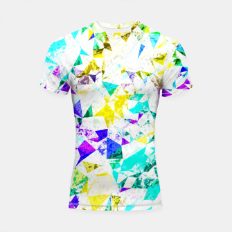 Thumbnail image of psychedelic geometric triangle polygon pattern abstract background in blue pink green yellow Shortsleeve rashguard, Live Heroes