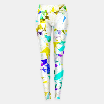 Thumbnail image of psychedelic geometric triangle polygon pattern abstract background in blue pink green yellow Leggings, Live Heroes