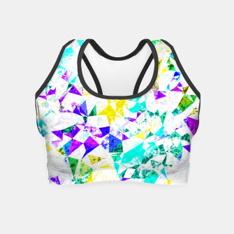 Thumbnail image of psychedelic geometric triangle polygon pattern abstract background in blue pink green yellow Crop Top, Live Heroes