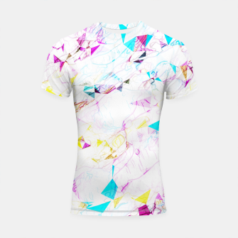 Thumbnail image of psychedelic geometric triangle polygon pattern abstract background in pink blue yellow Shortsleeve rashguard, Live Heroes