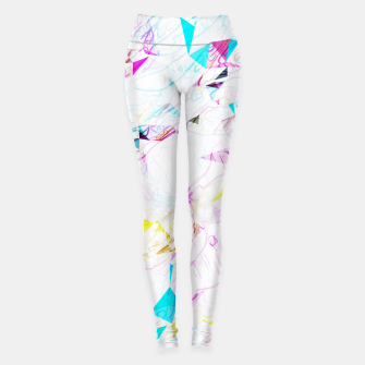 Thumbnail image of psychedelic geometric triangle polygon pattern abstract background in pink blue yellow Leggings, Live Heroes