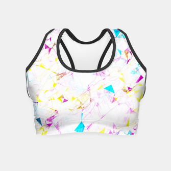 Thumbnail image of psychedelic geometric triangle polygon pattern abstract background in pink blue yellow Crop Top, Live Heroes
