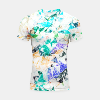 Thumbnail image of psychedelic geometric triangle polygon pattern abstract background in green blue orange purple Shortsleeve rashguard, Live Heroes