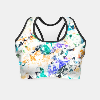 Thumbnail image of psychedelic geometric triangle polygon pattern abstract background in green blue orange purple Crop Top, Live Heroes