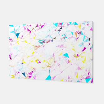 Miniatur psychedelic geometric triangle polygon pattern abstract background in pink blue yellow Canvas, Live Heroes
