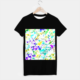 Miniaturka psychedelic geometric triangle polygon pattern abstract background in blue pink green yellow T-shirt regular, Live Heroes