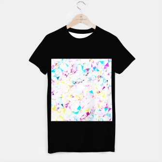 Miniaturka psychedelic geometric triangle polygon pattern abstract background in pink blue yellow T-shirt regular, Live Heroes