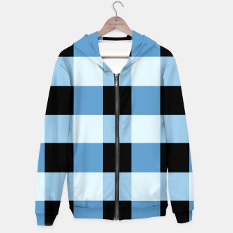 Abstract geometric pattern - black and blue. Cotton zip up hoodie obraz miniatury
