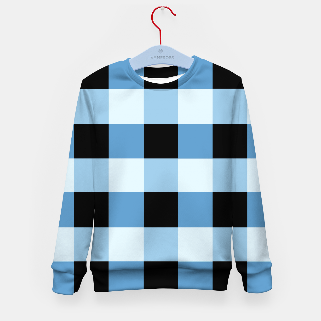 Zdjęcie Abstract geometric pattern - black and blue. Kid's sweater - Live Heroes