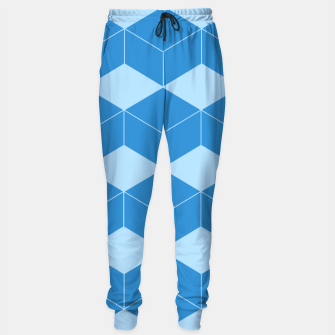 Thumbnail image of Abstract geometric pattern - blue. Cotton sweatpants, Live Heroes