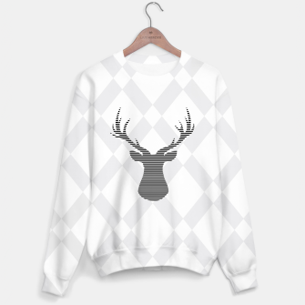Deer - Abstract geometric pattern - gray and white. Cotton sweater obraz miniatury