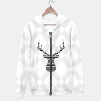 Deer - Abstract geometric pattern - gray and white. Cotton zip up hoodie obraz miniatury