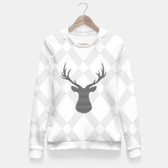 Deer - Abstract geometric pattern - gray and white. Woman cotton sweater obraz miniatury