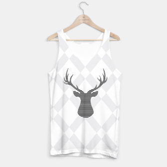 Thumbnail image of Deer - Abstract geometric pattern - gray and white. Tank Top, Live Heroes